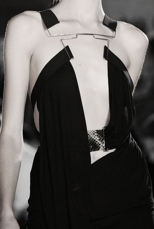 Artful Connections... black dress mixing hard lines and draping with soft fabric; fashion details // Anthony Vaccarello