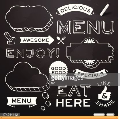 Chalkboard restaurant menu design elements. EPS 10 file. Transparency effects used on highlight elements.