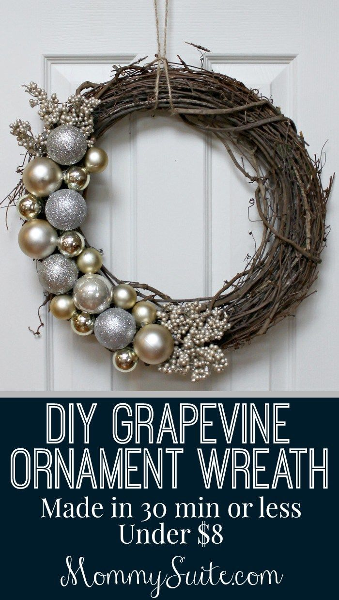 DIY Grapevine Ornament Wreath