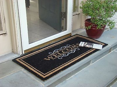 WELCOME MAT Heavy Duty Large Coir Doormat. Front Porch Double Door Outdoor Floor
