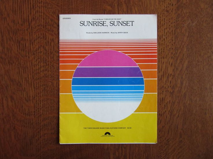 sunrise sunset fiddler on the roof pdf