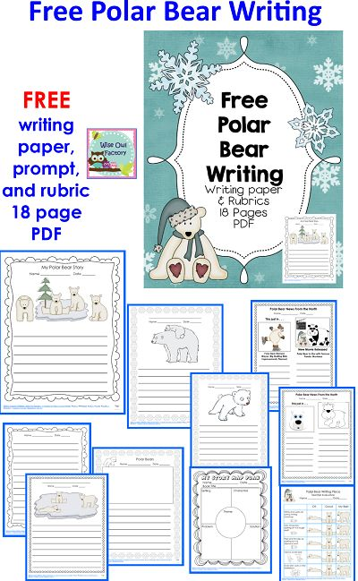 Blog post at BookaDay : Free Polar Bear Writing Frames and Paper This post has a free 18 page printable with narrative and expository writing frames for class proj[..]