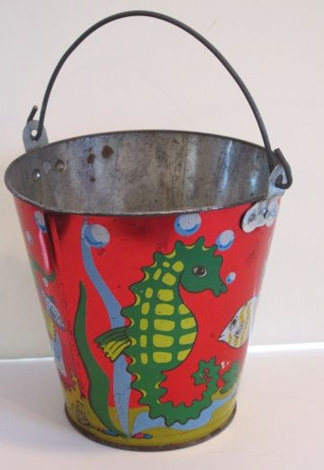 Seahorse Sand Pail Bright Red Background With Colorful Tropical Fish And Ohio Art Vintage Pails Shovels Toys Pinterest Beach