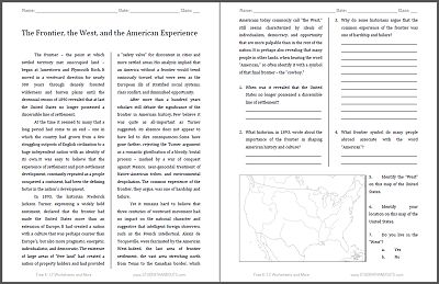 the frontier the west and the american experience free printable american history reading. Black Bedroom Furniture Sets. Home Design Ideas