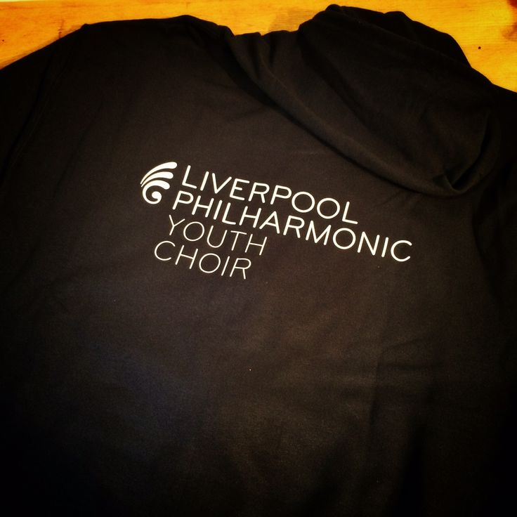 Custom Hoodie for Liverpool Philharmonic Hall Youth Choir. Black hoodie with white logo print by Fitwell Ltd. Visit us www.fitwell-ltd.co.uk