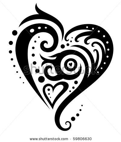 Decorative Heart Created In An Elegant, Contemporary Style. Stock Vector 59806630 : Shutterstock