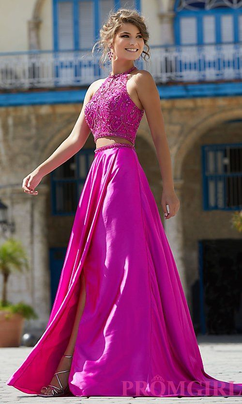 Two-Piece High-Neck Mori Lee Prom Dress