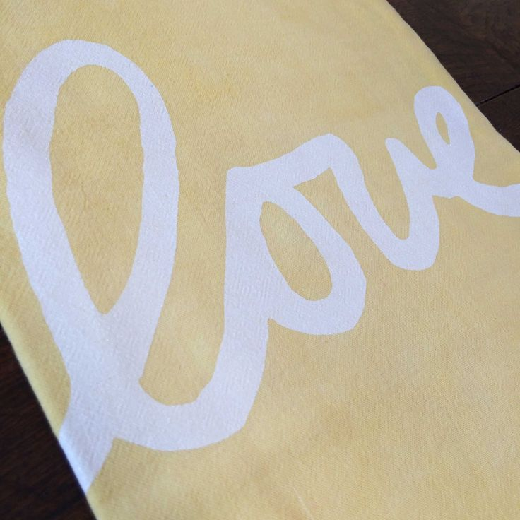 """Love yellow"" printed onto Yellow 100% cotton flour sack tea towel."