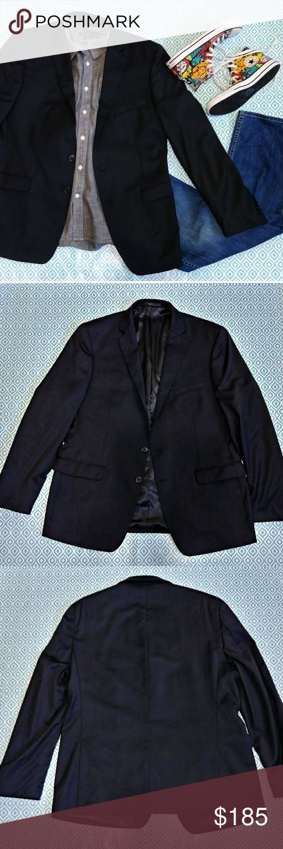 🚹NWOT CALVIN KLEIN Slim Fit Blazer NWOT. Never worn.  A closet staple EVERY man should have, a black 💯% wool blazer. Basic black makes the styling options endless. Make it part of your career wardrobe. Pair with slacks for a formal/business event or dress it down with your favorite jeans for a night on the town.  Proper care will ensure many years of good use.Dry clean only & store in a hanging bag with cedar to guard against hungry moths.   No flaws detected.  Questions & reasonable…