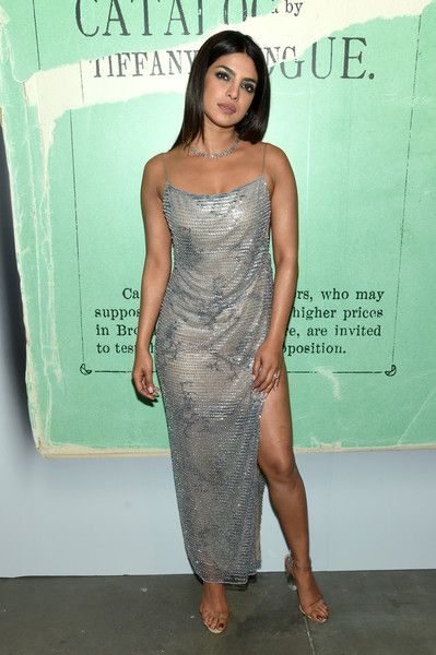 4de12fcbe4 Priyanka Chopra Sequin Dress - Priyanka Chopra was glowing in a silver  sequined slip dress by Armani at the 2018 Tiffany Blue Book Collection  celebration.