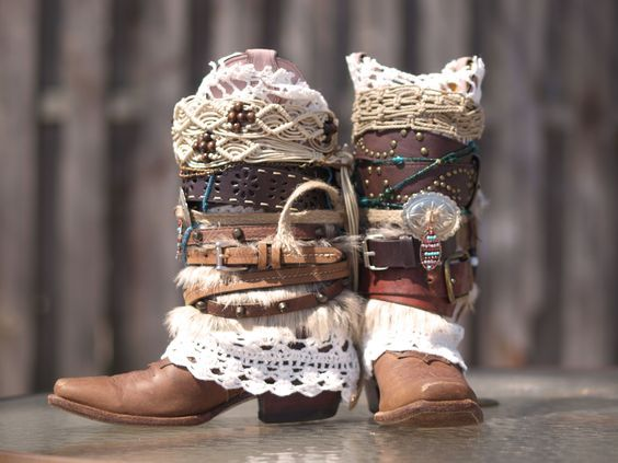 Full size furry cowboy boots Boho Tribal boots from The Look Factory