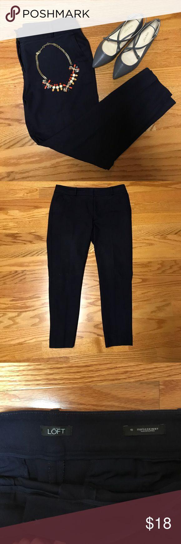 LOFT size 10 Marissa fit, navy blue dress pant LOFT size 10 Marissa fit, navy blue dress pant with a seam down the back. LOFT Pants Ankle & Cropped