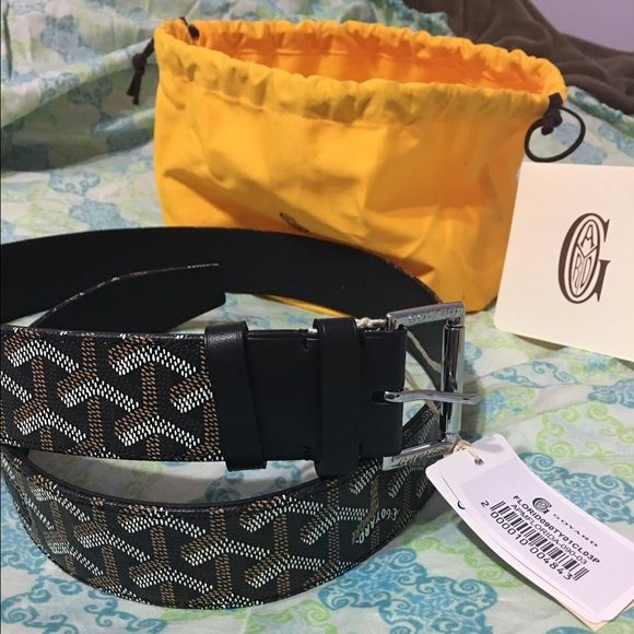 New & Authentic Goyard Black Leather Belt New & Authentic men's black leather      Goyard Belt. SIZES?: sizes vary upon request ! So message me about your waist size first. I have 90cm 30-32, 95cm 32-34 ,& 100cm 34-36 Brown and multicolor Goyard leather monogram belt with silver-tone at buckle closure at front. Purchased at Bergdof Goodman.   Includes: Bergdof Goodman shopping bag, tags, dust bag and belt. All black leather with monogram og goyard print.  Feel free to message with any…