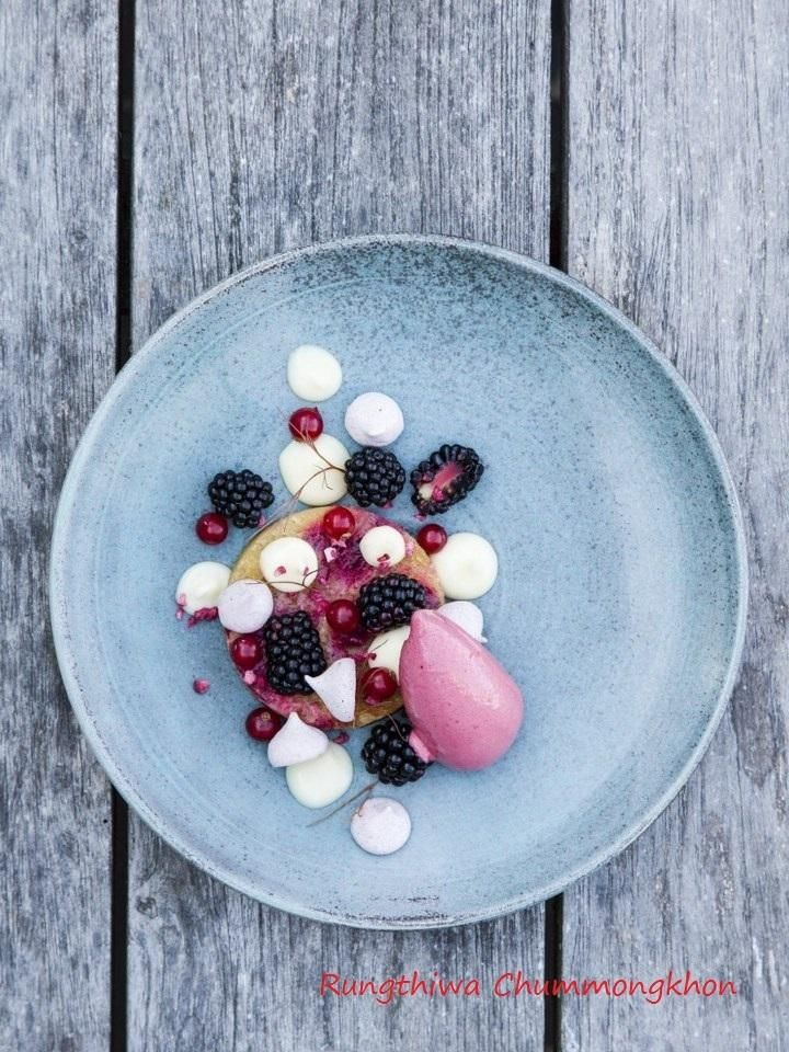 A dish from Vejrø Hotel & Restaurant By Rungthiwa Chummongkhon (Fae). Iits is from the summer 2014 for the magazine Copenhagen Food. Mazarin WITH BERRIES AND SORBET Its All 100% organic. www.copenhagenfood.dk Photo Copyright Stine Christiansen