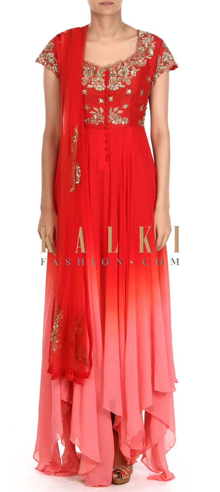 Buy this Red and pink anarkali suit adorn in zardosi only on Kalki