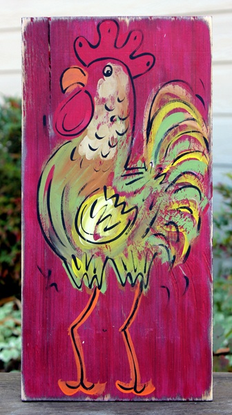 Rustic Rooster Painting in Red for BourbonandBoots.com
