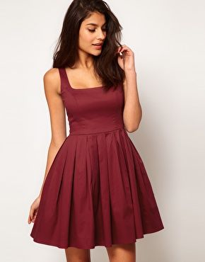 ASOS Skater Dress In Cotton Sateen With Square Neck in Oxblood - Just perfect for fall :)