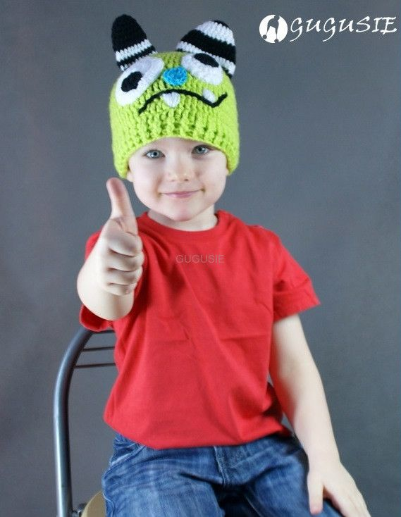 czapka monster, szydełkowa czapka monster, czapka dla chłopca, wiosenna czapka