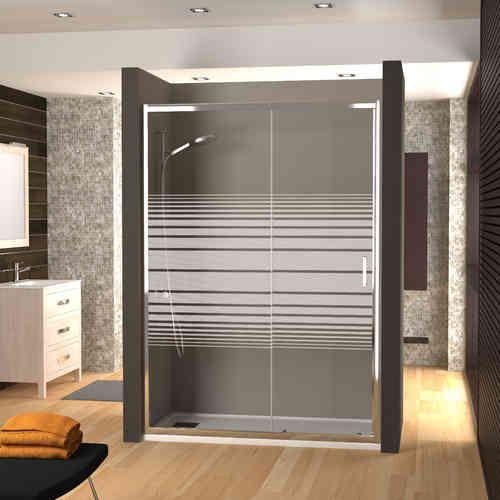FABRICANTES DE BARCELONA. Mampara ducha fijo + corredera cristal serigrafiado NIZ - Mamparas de bañera y ducha