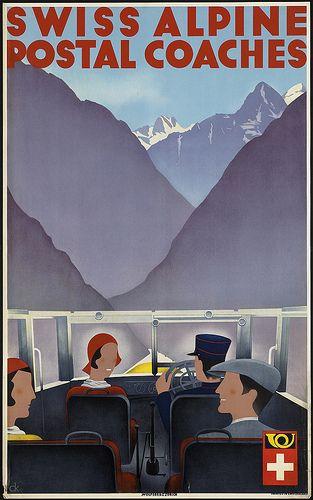 Swiss alpine postal coaches by Boston Public Library, via Flickr