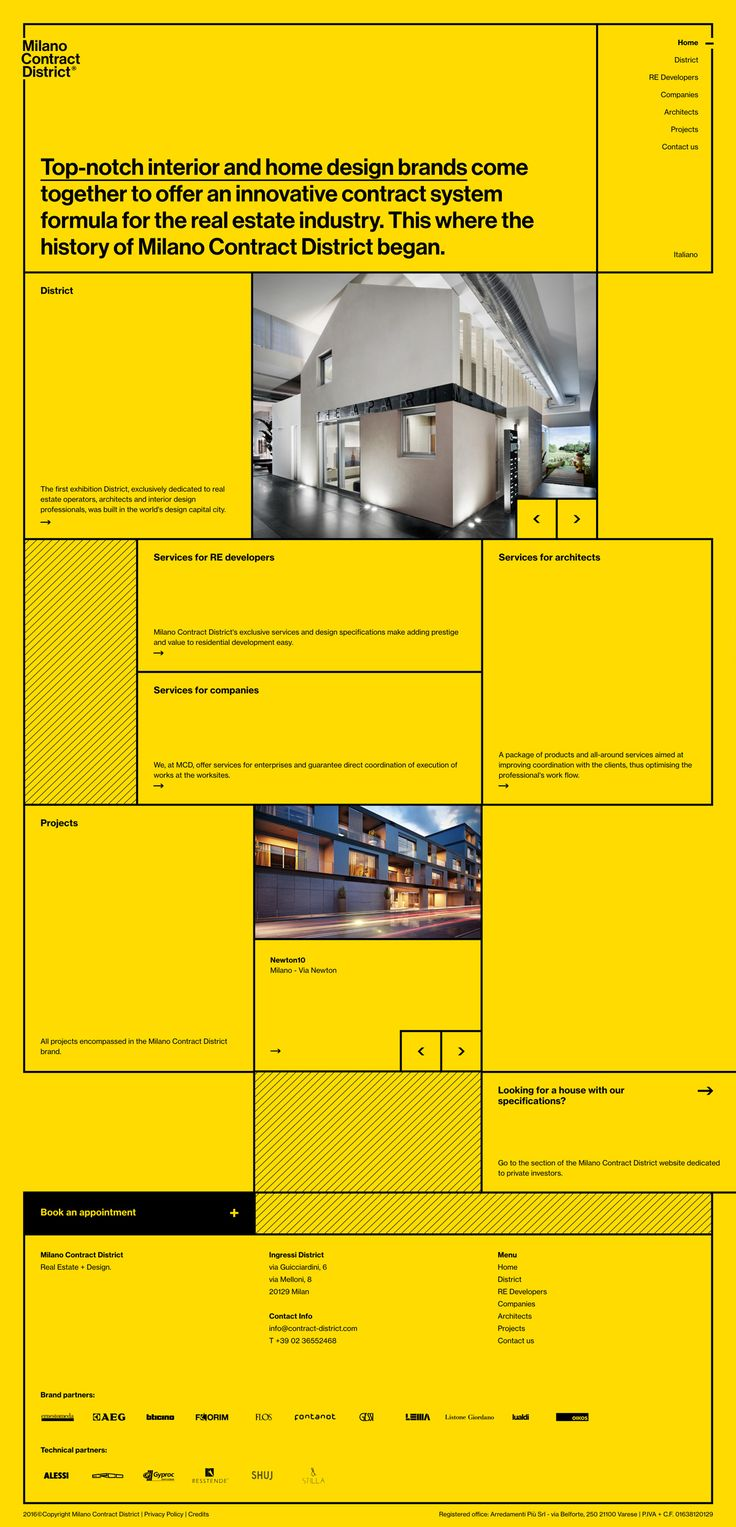 Milano Contract District http://mindsparklemag.com/website/milano-contract-district/ Milano Contract District webdesign sotd site of the day beautiful minimal website award yellow square interior home design mindsparkle mag