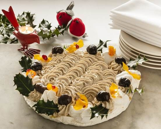Alex Mackay's take on a New Zealand classic, the pavlova. http://www.merchant-gourmet.com/recipes/christmas/Pavlova-With-Chestnut-Mousse-Candied-Orange-And-Chestnuts/