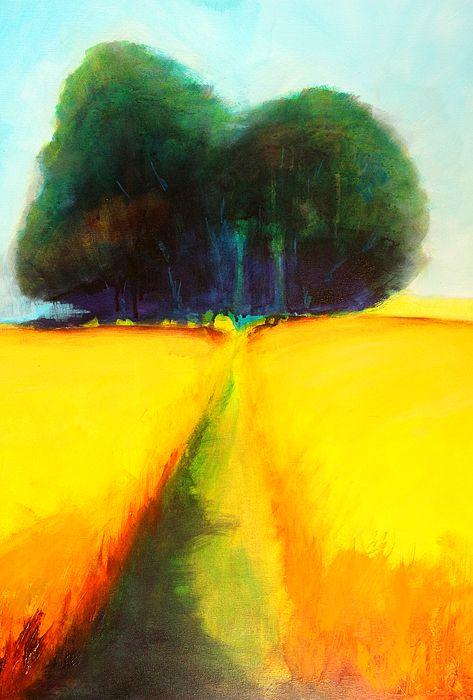 Prairie Tree 2 Abstract Landscape Painting by Nancy Merkle