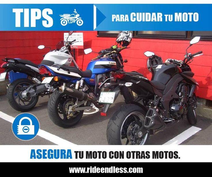 Si viajas en moto y viajas en grupo con otras motos a la hora de estacionarse es mucho más efectivo si fijas varias motos juntas en cadena a que si lo haces individualmente. Una moto suelta es más atractiva y fácil de robar que un grupo unido.  #Tips #RideEndless #BMW #Motorrad #TipRideEndless