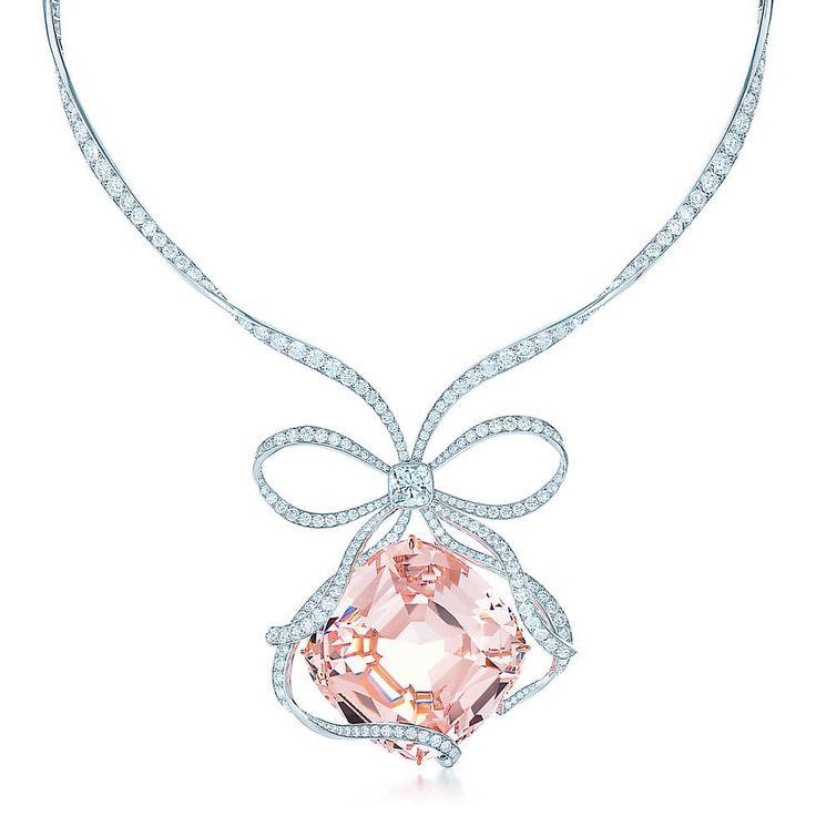 The Tiffany Anniversary Morganite necklace in platinum with diamonds. | Tiffany & Co.