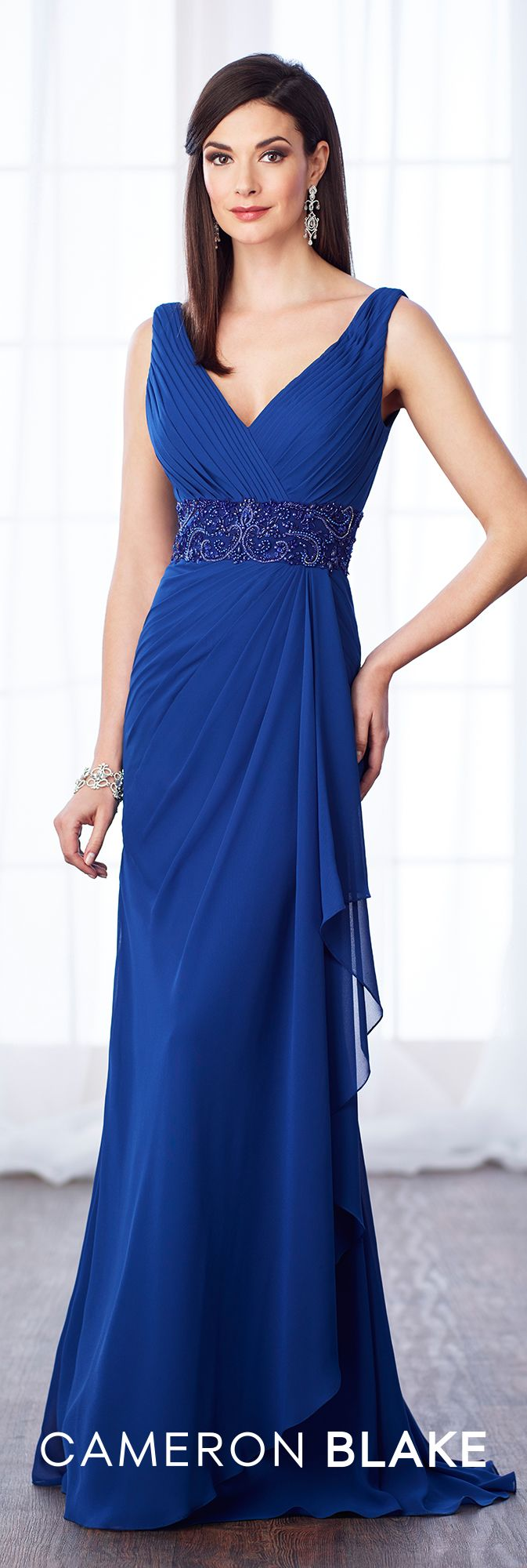 Formal Evening Gowns by Mon Cheri - Fall 2017 - Style No 217641 - royal blue sleeveless chiffon slim A-line evening dress