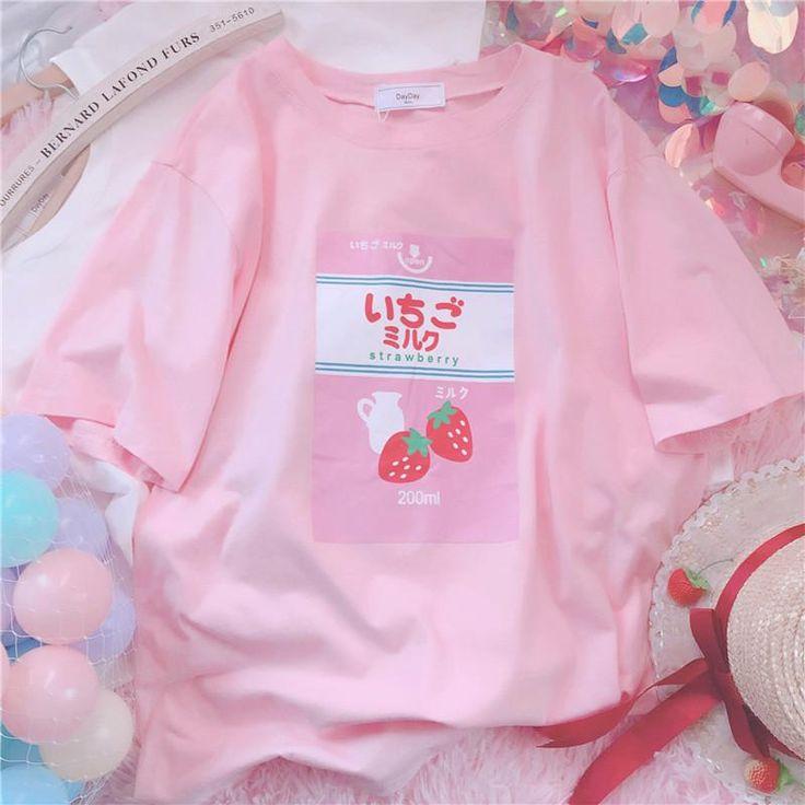 Pink strawberry white milk printing t-shirt SE11073
