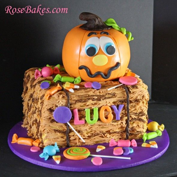 Pumpkin Patch Birthday:  Pumpkin Cake on a Hay Bale with Lots of Candy by RoseBakes.com.  Click over to see lots more pics and details!!