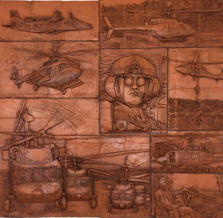 """Mural en honor a la Aviación de Ejc en casino de cadetes. Escuela Militar de Cadetes """"General José María Córdova"""" (ESMIC) del Ejército de Colombia. Bogotá- Colombia."""