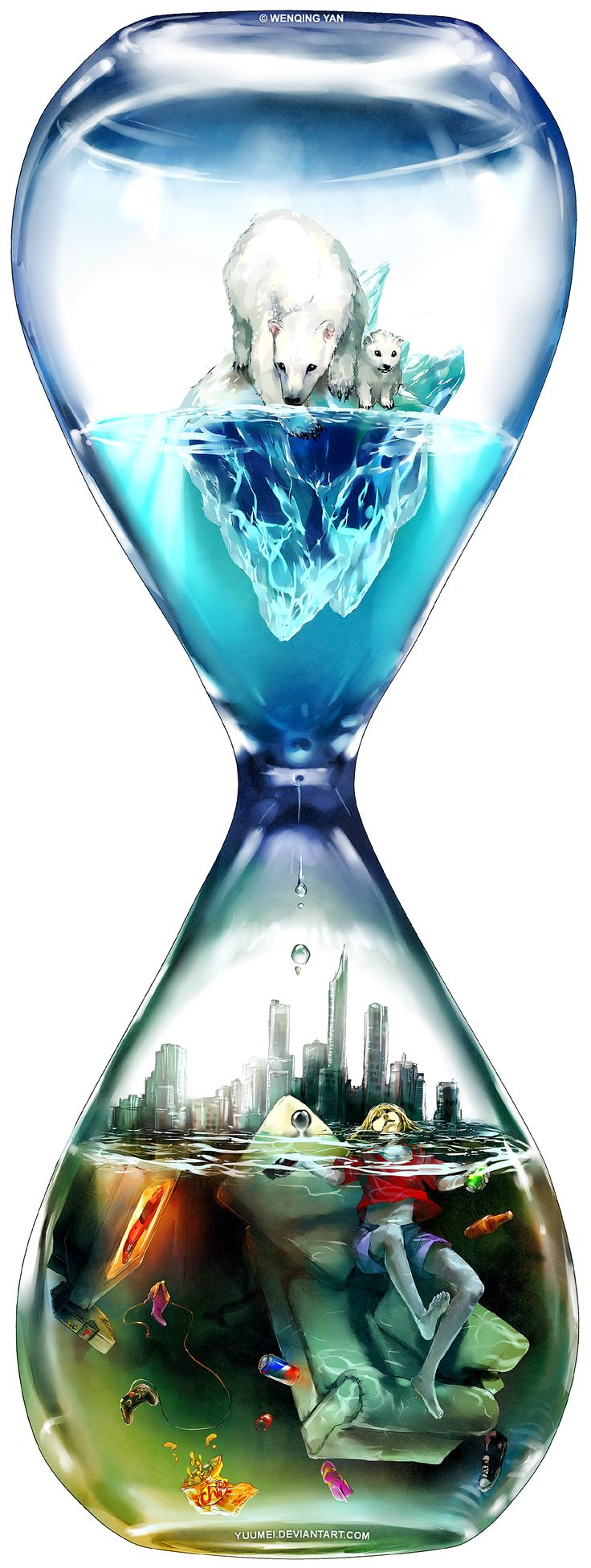"""Countdown"" by yuumei on DeviantArt While many of us enjoy the luxury of watching TV on our couch with a cold can of soda or beer, the ice caps are melting at an alarming rate. Polar bears that need the ice to hunt and survive are drowning or starving; sometimes forced to search through dumpsters to survive."