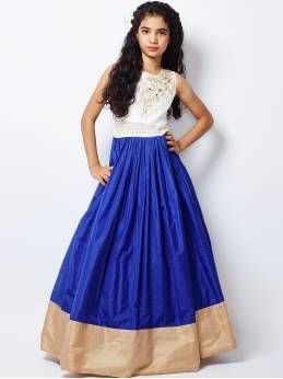 Blue Silk Semi Stitched Free Size Xxl Lehenga Choli For Girls (8-12 Years)