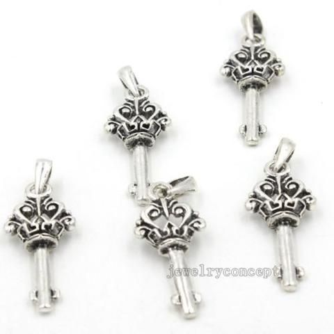 20x Hot Selling Antique Silver Key Shape Charms Alloy Pendants Jewelry Making J