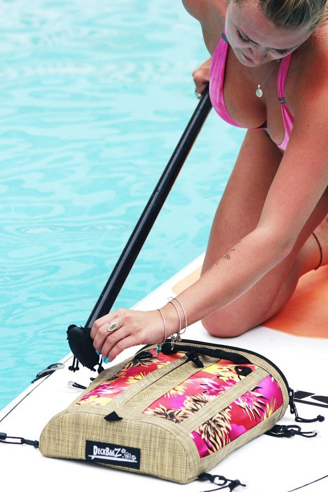 DeckBagZ, the first, the original, the only retro surf style deck bags for your paddleboard or kayak. Haole pink SUP deck bag. Made from wetsuit material and a woven vinyl mesh designed to look like w