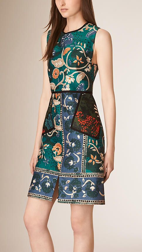 Burberry Teal Structured Floral Print Shift Dress - Image 1