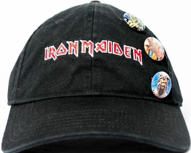 Our Iron Maiden baseball hat spotlights the logo for the classic heavy metal band. Formed in 1975, Iron Maiden are considered pioneers in the new wave of British heavy metal and are one of the most successful metal bands ever. This hat is made from 100% black heavy-washed cotton with a tri-glide closure for proper fitting and buttons, on the front, with different versions of Iron Maiden's Eddie the Head mascot, from various album covers and concert tours. #ironmaiden #baseballcaps…