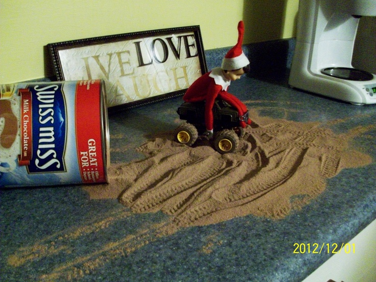 Elf on the Shelf is Muddin' in Hot Chocolate.... Wish I would have thought of this..... Lol!