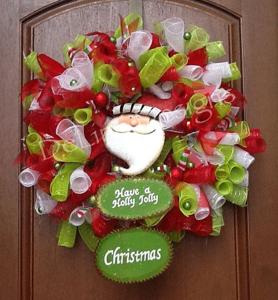 Christmas spiral deco mesh wreath on Etsy, $70.00