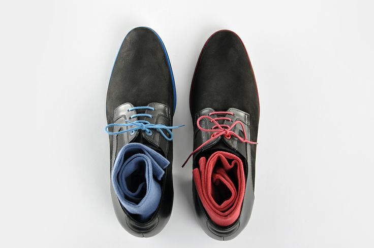 Height increasing casual #men's #shoes by Betelli. Made from black nubuck and genuine #leather with extra touch of #red and #blue.