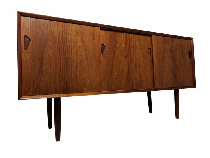 Danish Mid Century Modern Credenza or Media console with sliding doors