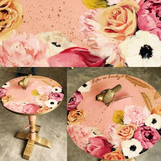 Pretty in pink end table, hand-painted design.
