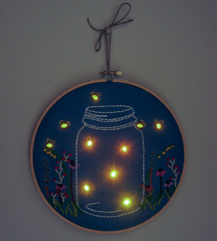 Nightlight Embroidered Wall Art   Art Pieces   The Monster's Lounge   Scoutmob Shoppe   Product Detail
