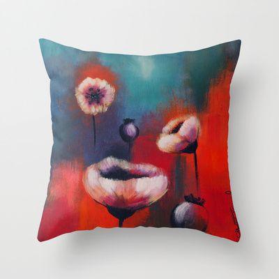 Poppies Throw Pillow by Malin Östlund - $20.00