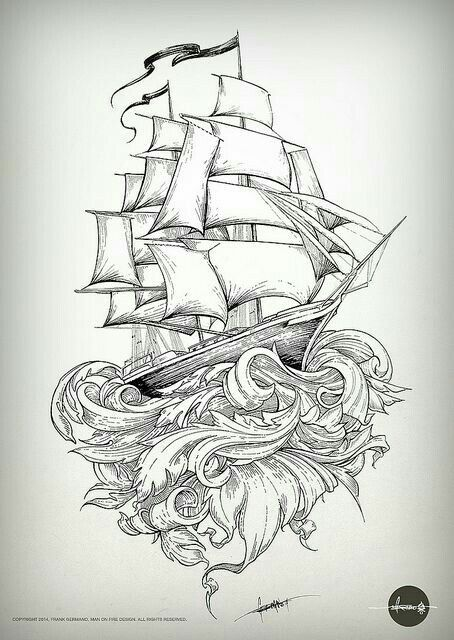 Caravel old school tattoo caravela