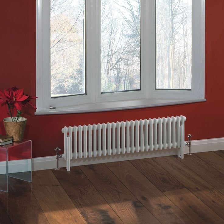 "Traditional 26 x 2 Column Radiator Cast Iron Style 11.8"" x 46"" - White Powder Coat Finish - Traditional & Cast Iron Radiators - Heating"