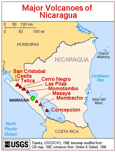 Map, Major Volcanoes of Nicaragua | from here to there in ... on map of nicaragua cities granada, map de nicaragua, nicaragua map with cities,