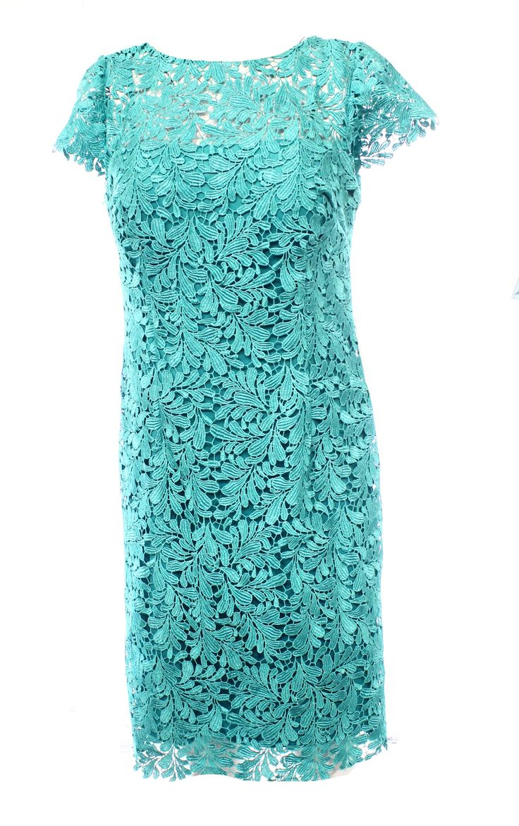 Patra NEW Blue Teal Open Back Crochet Lace Women's Size 6 Sheath Dress $249